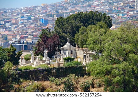 The city cemetery of Valparaiso, Chile sits atop Pantheon Hill