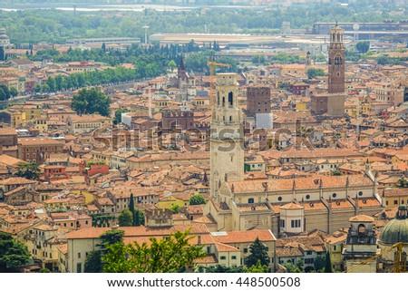 The city center of Verona Italy - aerial view - stock photo