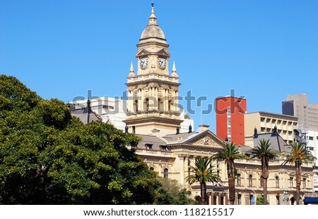 The City Hall in Darling Street, built in 1905 is one of the landmarks of the city centre(Cape Town, South Africa).