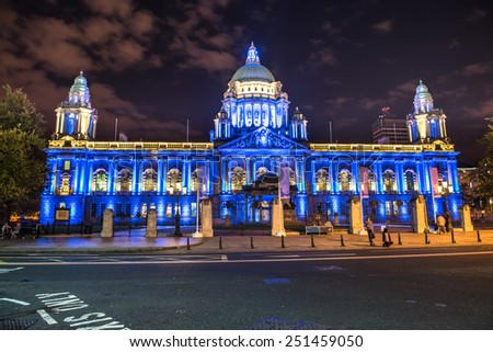 The city hall of Belfast North Ireland at night, Belfast city, Northern Ireland, UK - stock photo