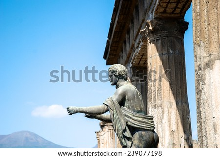 The city is mainly famous for the ruins of the ancient city of Pompeii - stock photo