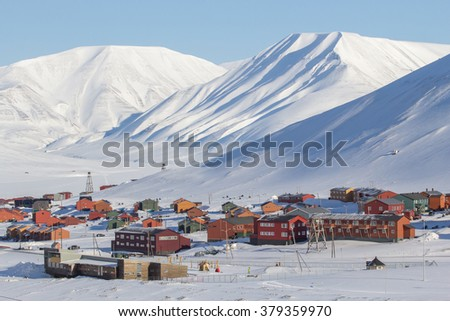 The city is surrounded by mountains. Longyearbyen, Spitsbergen (Svalbard). Norway - stock photo