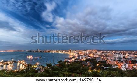 The city night on pattaya beach - stock photo