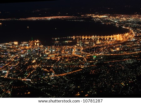 The city of Cape Town in South Africa at night as seen from Table mountain. - stock photo
