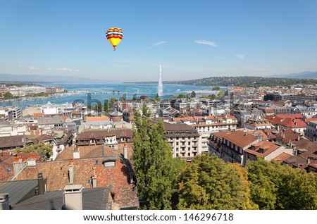 The city of Geneva in Switzerland, a general and aerial view - stock photo