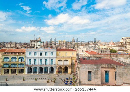 The city of Havana on a summer day with a beautiful blue sky - stock photo