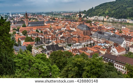 The city of Heidelberg, situated on the Neckar River - stock photo