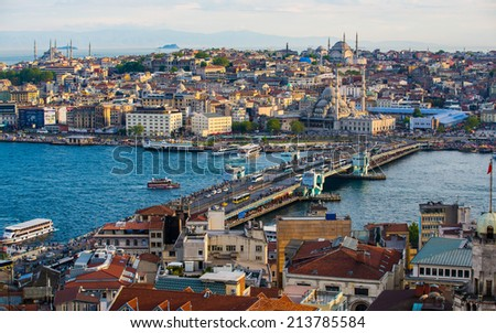 The city of Istanbul seen from the Galata Tower, Turkey - stock photo