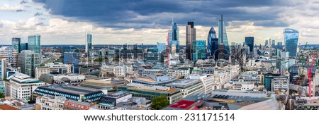 The City of London Panorama - stock photo