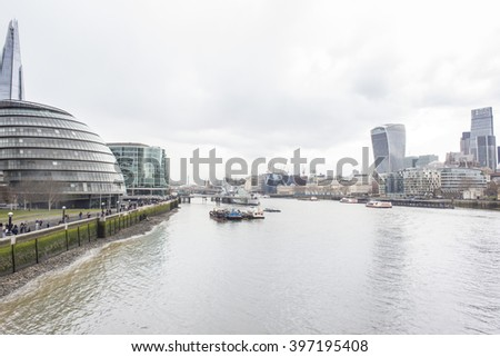 The City of London skyline across the Thames river with the Shad skyscraper and the City Hall on the left and the Walkie Talkie on the right. The City of London is the financial district of London.
