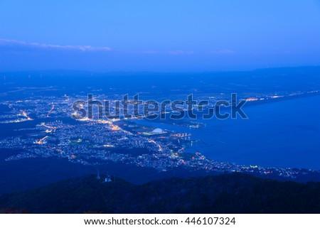 The city of Mutsu at dusk in Aomori, Japan - stock photo