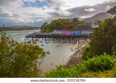 The city of Portree on a nice sunny day - Isle of Skye, Scotland, UK - stock photo