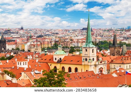 The city of Prague, as seen from the Prague Castle - stock photo