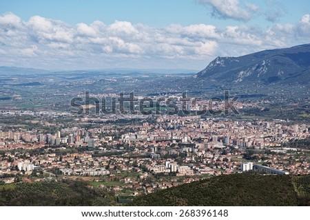the city of Terni and the north of the Terni basin - stock photo