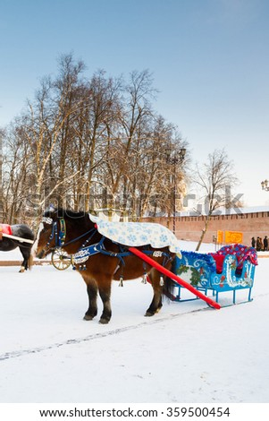 the city of Veliky Novgorod, Russia, 5 January, 2016. Horses drawn sleigh and carriage in winter