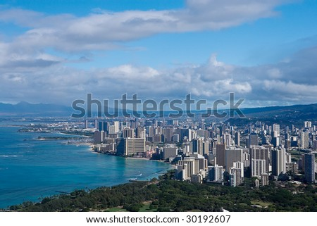 The City of Waikiki as seen from Diamond Head