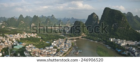 the city of yangshuo,guangxi province china
