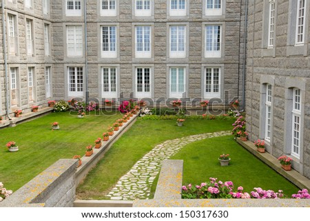 The city walls and houses of St. Malo in Brittany, France - stock photo