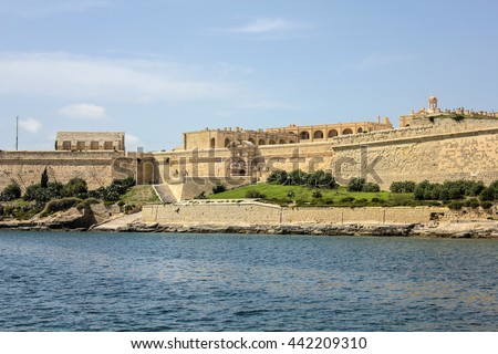 The city walls of Valletta with old castle - Malta