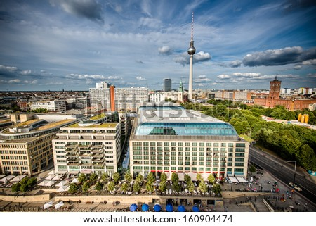 The cityscape of Berlin on a clear summer day - stock photo
