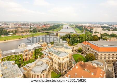 The cityscape of Dresden (Saxony) and the river Elbe. - stock photo