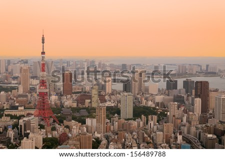 The cityscape of Tokyo at dusk with Tokyo Tower in the foreground. - stock photo