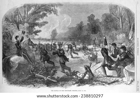 The Civil War. The battle of Rich Mountain, (West) Virginia, July 13, 1861. Engraving ca 1861
