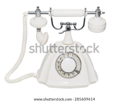 The classic old white phone. Retro. isolated. close-up. white background