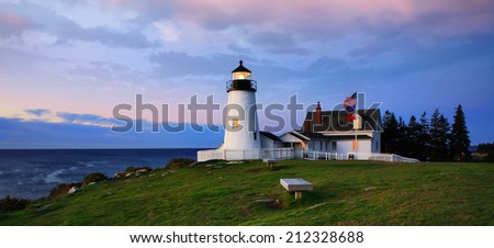 The Classic Pemaquid Point Lighthouse Holding Vigil In The Pre Dawn Light Of Another Beautiful New England Autumn Day, Bristol Maine, USA - stock photo