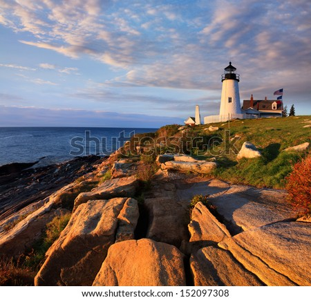 The Classic Pemaquid Point Lighthouse Overlooking The Atlantic Ocean On A Beautiful New England Morning, Bristol Maine, USA - stock photo