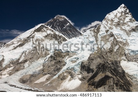 The classic view of Mount Everest and Nuptse from Kala Patthar. Solukhumbum, Everest Base Camp Trek, Everest Region, Nepal.
