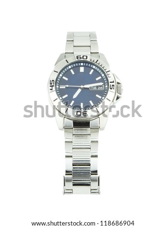 the classic wrist watches on white background - stock photo