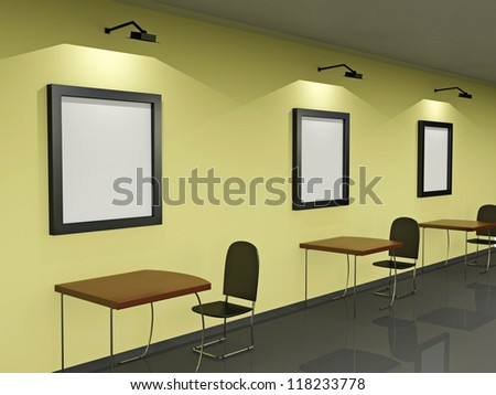 The classroom with school desks and chairs