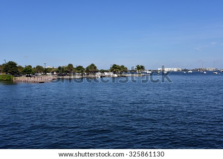 The clean and safe boat ramps at Phil Foster Park on Singer Island, Florida with access to Lake Worth and the Atlantic Ocean. - stock photo
