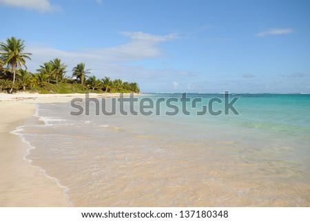 The clear Caribbean waters of Flamenco Beach on Culebra Island, Puerto Rico - stock photo