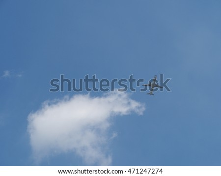 The clear sky with the white clouds and sunlight in summer