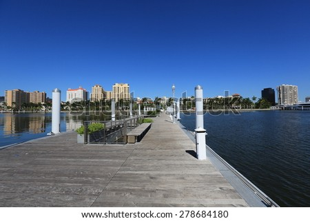The Clematis Docks in downtown West Palm Beach are open to the public year round - stock photo