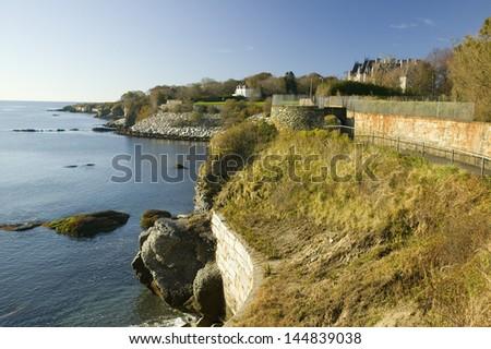 The Cliff Walk of Newport Rhode Island - stock photo