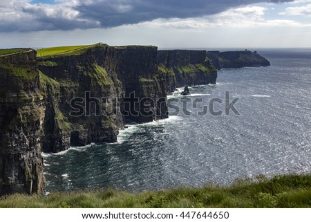 The Cliffs of Moher, County Clare, Ireland. They reach their maximum height of 214 meters (702 ft) near here, just north of O'Brien's Tower .
