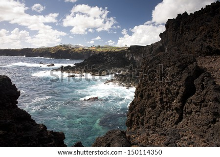 The Cliffs of the Azores - stock photo