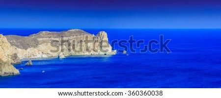 The cliffs on the island of Santorini, Greece - panorama - stock photo