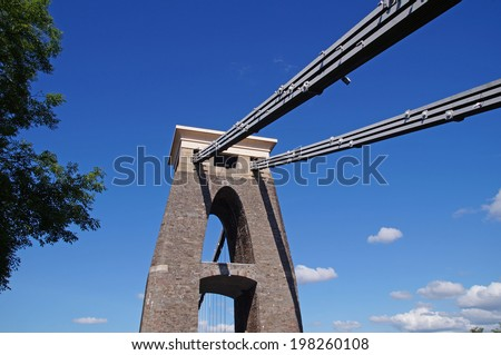 The Clifton Suspension Bridge crossing the River Avon is a proud landmark of the city of Bristol - stock photo