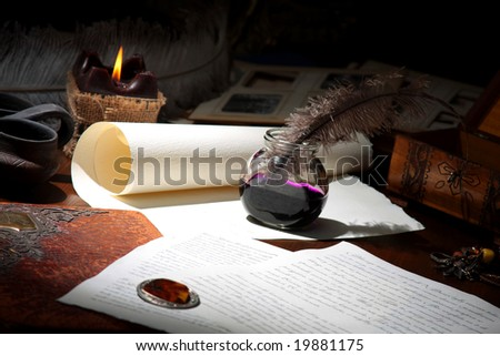 the climate  of old signatures - stock photo
