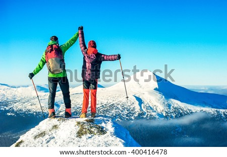 The climbers stay on the the summit. Active sport concept - stock photo