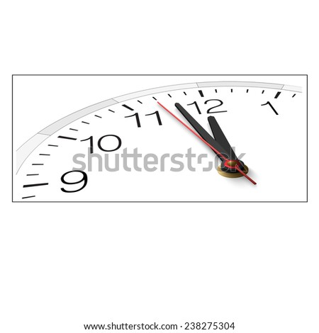The clock and timestamp with numbers isolated on a white background. Near twelve. Raster version illustration. - stock photo