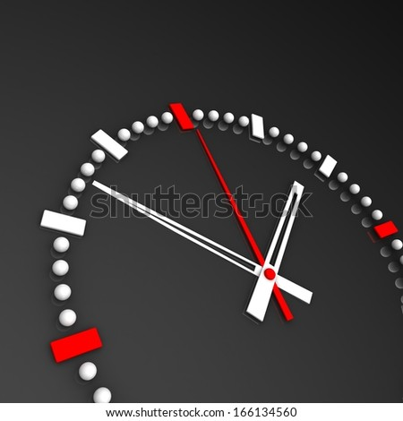 The clock and timestamp without numbers on an isolated background.