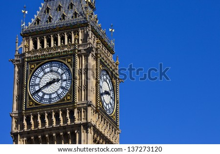 The Clock-Face of Big Ben (Elizabeth Tower) in London. - stock photo