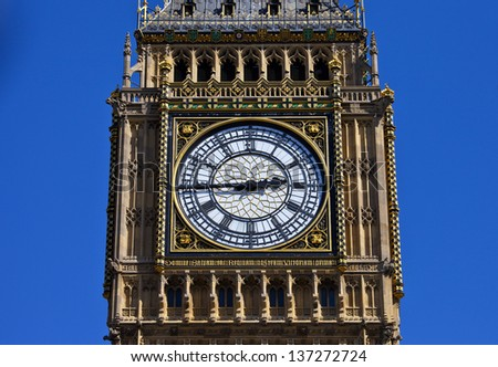 The Clock-Face of Big Ben (on the Elizabeth Tower) in London. - stock photo