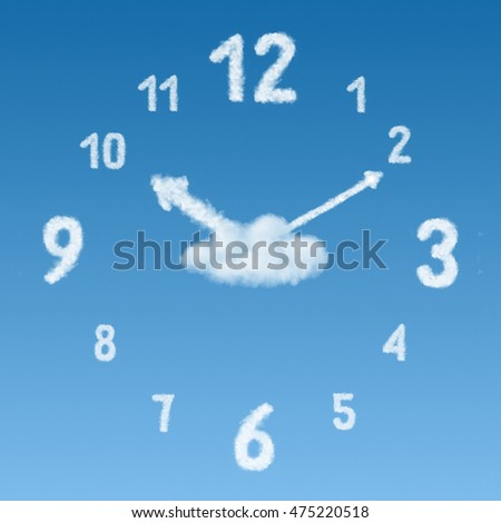 the clock made of clouds on a blue sky background. Not render.