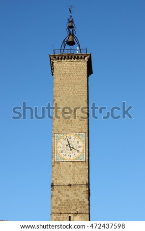 The clock of Clock tower of Viterbo, Italy